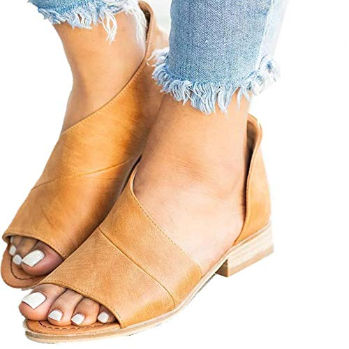 SNIDEL Womens Faux Leather Sandal Open Toe Flats Sip on Summer Casual Low Heels Shoes Brown 7 B (M) US