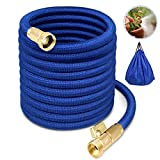 Garden Hose Water Hose Expandable Garden Hose Flexible Garden Hose 50FT No-Kink Flexible Expanding Water Hose with 4 Layer Latex Core, 3/4 Solid Brass Fittings for Watering/ Washing/ Cleaning