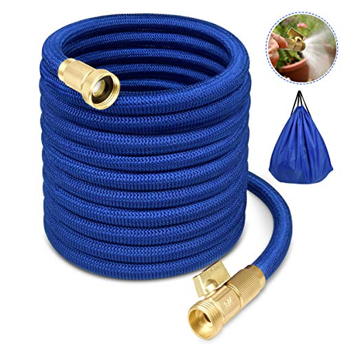 Garden Hose Water Hose Expandable Garden Hose Flexible Garden Hose 50FT No-Kink Flexible Expanding Water Hose with 4 Layer Latex Core, 3/4 Solid Brass Fittings for Watering/ Washing/ Cleaning (3 4 Inch Garden Hose 100 Feet)