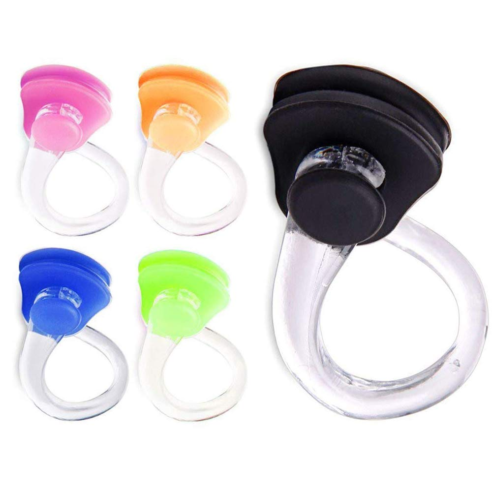 Xelparuc Swimming Nose Clip Waterproof Silica Gel Comfortable Soft Latex Plugs for Kids and Adults Multi-Color [20pcs, Random Color]