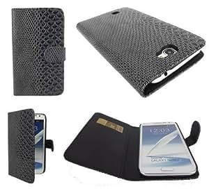 Sintética-de piel con tapa para Samsung Galaxy Note 2 7100 gris
