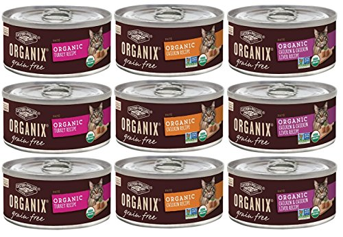 Organix Grain Free Canned Cat Food Pate 3 Flavor Variety Bundle: 3 Organic Turkey Pate Recipe, 3 Organic Chicken Pate…