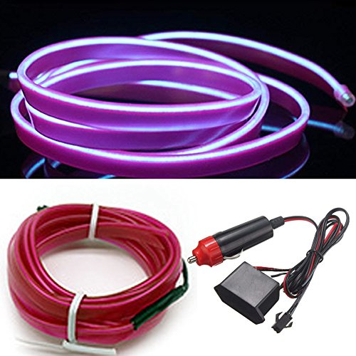 HomDSim 32.8ft/10m Auto Car Neon LED Panel Gap String Strip Light, Glowing Electroluminescent Wire/El Wire Lamp, Cold Strobing for Automotive Interior Car Decor Decorative Atmosphere,6mm Sewing Edge