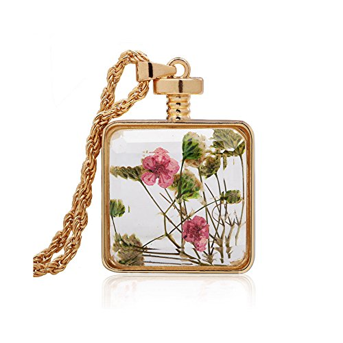 Winter's Secret Square Shape Pink and Green Dried Flower Glass Pendant Gold Color Twist Chain Necklace