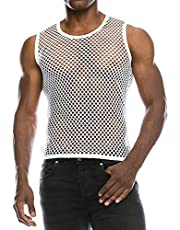 Kuokuo Men's Fishnet Mesh See Through Tank Tops Sexy Summer Cool Muscle Sleeveless Top Breathable Lightweight Vests
