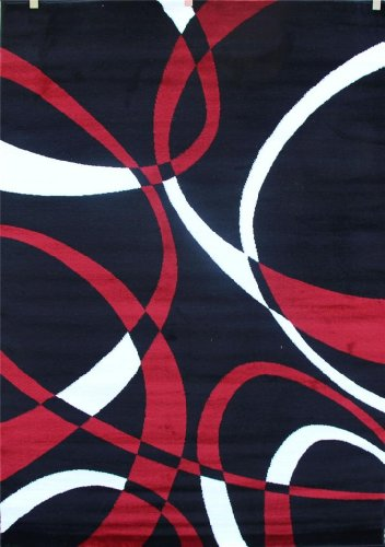 2305 Black Red White Multi 5-feet 2-inch By 7-feet