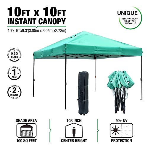 kdgarden 10×10 EZ Pop Up Canopy Tent Portable Instant Canopy 300D Silver Coated UV-Treated  ...