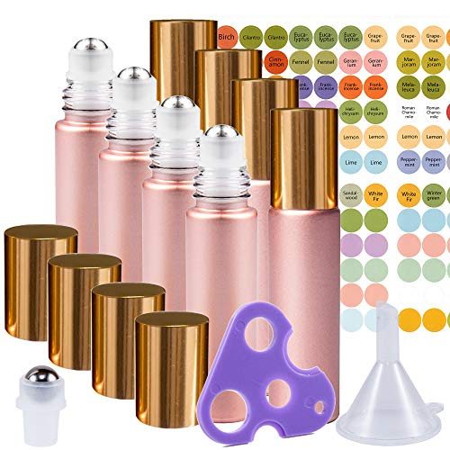 Rose Gold Ultimate Essential Oil Roller Bottles Set with Stainless Steel Balls, 8 Pack 10ml Leakproof Glass Bottle with 9 Rollerballs for Perfume & Aromatherapy Oils 1 Funnel + Opener ()