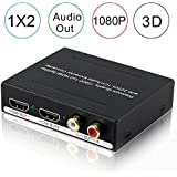 AVENK 1x2 HDMI Splitter with Audio Extractor Converter RCA L/R Analog Optical Toslink SPDIF Output Support 3D 1080P