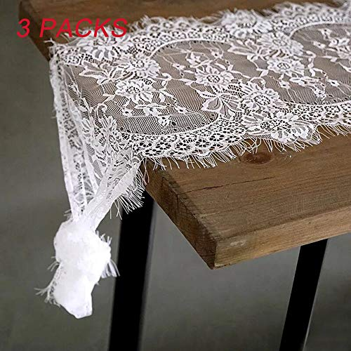 LGHome White Lace Table Runner 3 Pieces of 14