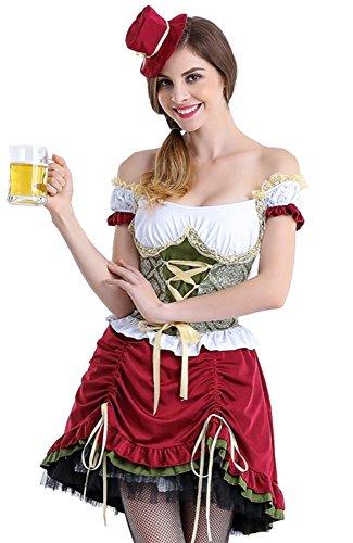 Honeystore Women's Oktoberfest Adult Halloween German Beer Bar Maid Costume Short Style (German Beer Lady Costume)
