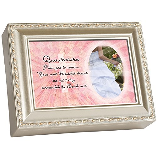 Cottage Garden Quinceanera Champagne Silver Traditional Music Box Plays Light Up My Life