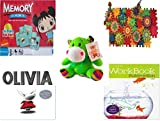 """Childrens Gift Bundle - Ages 3-5 [5 Piece] - Ni Hao Kai-Lan Edition Memory Game - Play Sprockets Toy - Plush Appeal Bright Green Hippo Plush 6"""" - Olivia Board Book - A+ Lets Grow Smart Workbook:"""