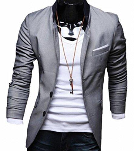 Cotton Two Button Blazer (ONTBYB Men's Suit Jacket Fashion Slim Cotton Two Buttons Blazer Coat Grey M)