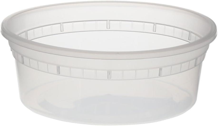 Tripak Premium Round Clear Plastic Deli Container with Lid, 237 ml ...