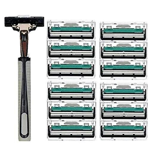 Men Manual Shaving Razor, 2-Layer Portable Hair Removal Shaver With 12 Pcs Blade Razor Face Care Tools Kit (Black) by Angoo Beauty