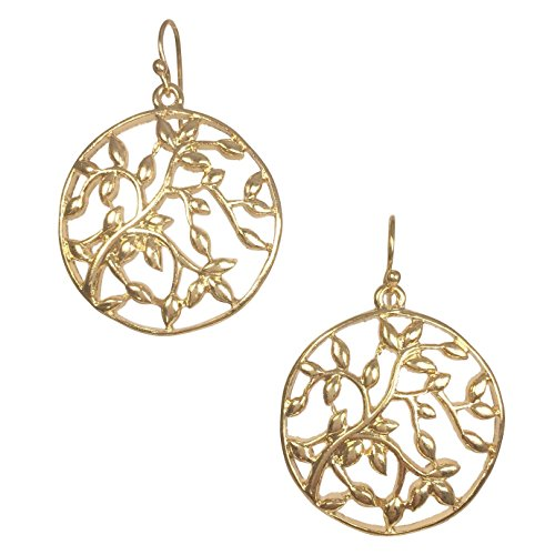 Tree Of Life Open Filigree Branch Boutique Style Dangle Earrings (Gold Tone) -