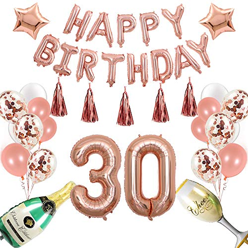 40inch Rose Gold 30th Number Balloon 12inch Rose Gold Confetti Balloon 40 Inch Champagne Balloons with Happy Birthday Banner Star Balloon Heart Balloon Foil Rose Gold Tassel Garland for 30 -