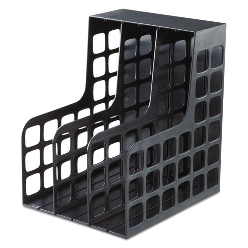 DecoRack Plastic Magazine File, Two Snap-In Dividers, 9 x 10 5/8 x 12, Black, Sold as 1 Each ()