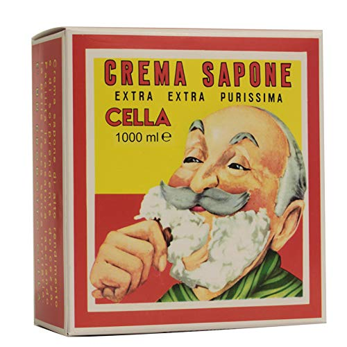 (CELLA Shaving cream Soap - XL GIANT Size - One Kilo Box 1000GR - almond shave creme - Fills cella container 12 times !!)