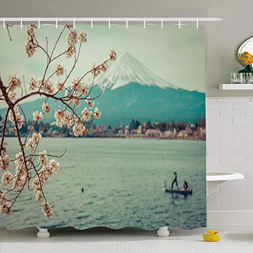 (Ahawoso Shower Curtain 60x72 Inches Kawaguchi Mount Mountain Fuji Spring Cherry Blossom Sakuravintage Nature Lanscape Blosson Boat Waterproof Polyester Fabric Bathroom Curtains Set with Hooks)