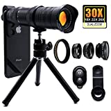 30X Cell Phone Camera Lens, 4 in 1 HD Phone Photography Lens Kit