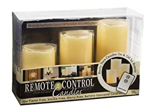 """Everlasting Glow LED Ivory Pillar Candles, Remote Control, Set of 3, 3"""" x 4, 5, 6"""" Height"""
