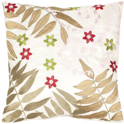 Safavieh Pillow Collection Autumn Ferns 18-Inch Cream and Green Embroidered Decorative Pillows, Set of 2