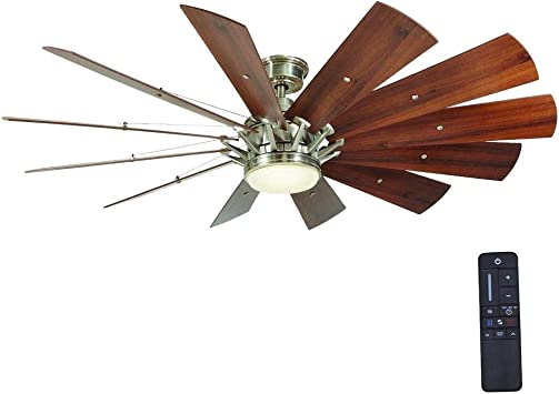 Home Decorators Collection Trudeau 60 In Led Brushed Nickel Ceiling Fan Amazon Com