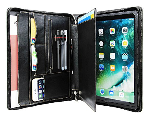 Professional iPad Pro 12.9 Portfolio Case with Tablet Stand, Office Business Organizer Document Folder with Letter Size Legal pad/Notepad Holder, Goatskin Leather (Pro 12.9, Black)