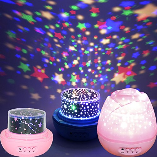 Dts Es Led Colorful Dream Light  Stars And Moon Projection Effect  Very Quiet On Rotation  Usb Power Supply Or Dry Cell  Christmas New Year Gift Used For Bedroom Lighting Or Children Bedroom Adornment