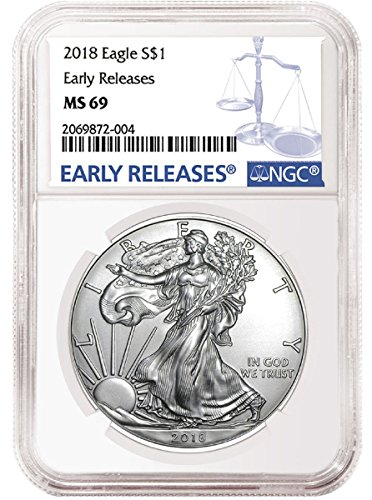 2018 - American Silver Eagle Early Release Blue Label Dollar MS69 NGC