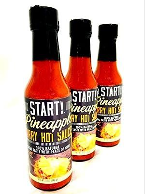 START! Pineapple Curry Hot Sauce - Sampler Family Pack - Vegan + Gluten Free - Everyday Gourmet Light Spice (3 pack)