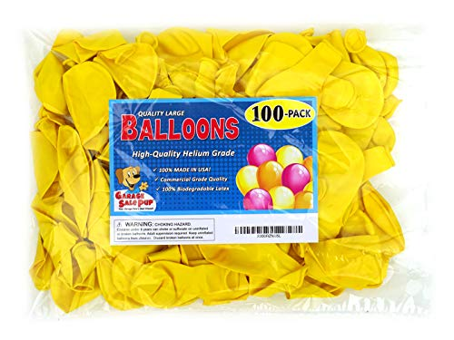 Garage Sale Pup Pack of 100, Bright Yellow Color 5 Decorator Latex Balloons, Made in USA!