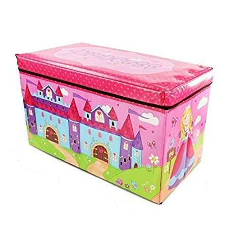 Kids Childrens Large Room Tidy Toy Quality Storage Box With Lid Boys Girls Books Folding Chest Clothes Seat Stool (Princess )