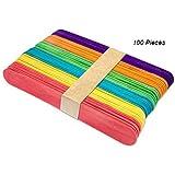 "CCINEE 100 Pieces 5.9"" Natural or Coloured Jumbo Sticks Lollipop Craft Sticks Wood Craft Sticks"