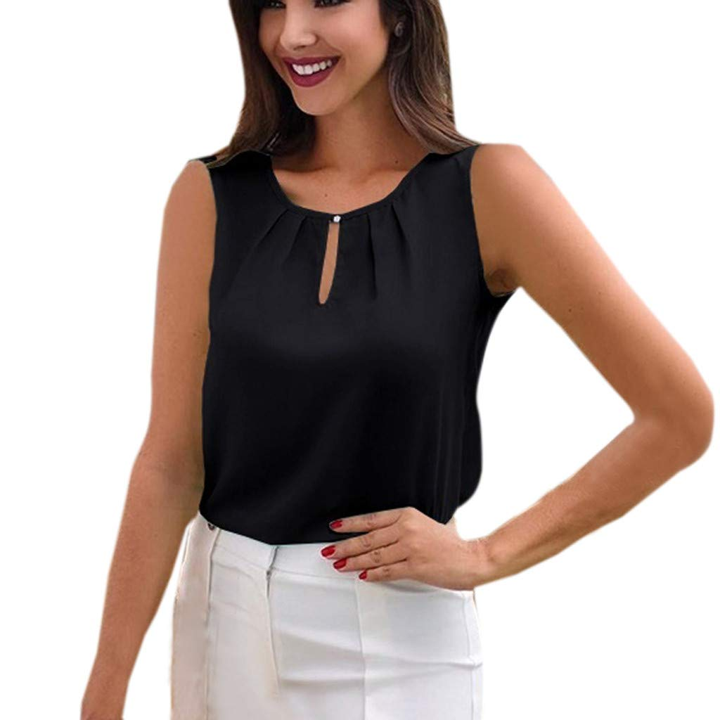 Big Sales for Women! Wintialy Women Sexy Chiffon Sleeveless T-Shirt Round Neck Tops Loose Blouse Cool Tank Top Black