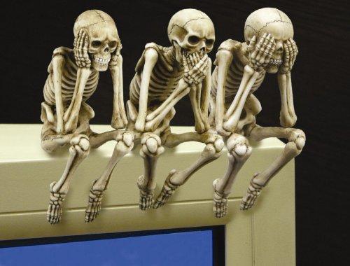 See, Hear, and Speak no Evil Shelf Sitter Skeleton Figurine (Set of 3 pieces) (Skeleton Shelf Sitter)