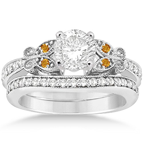Butterfly Accented Diamond and Citrine Bridal Set Engagement Ring and Band 14k White Gold 0.42ct