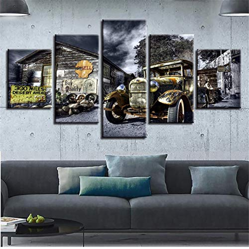 NATVVA Canvas Poster Wall Art Printed 5 Pieces Antique Hot Rod Vintage Car Paintings Landscape Pictures Modular Living Room Decor ()