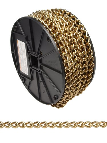 (Campbell 0723388 Low Carbon Steel Twist Link Machine Chain on Reel, Brass Glo, #2 Trade, 0.15