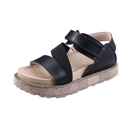 de velcro plataforma OCHENTA Romanas sandalias Negro zapatos de Mujer nxYwaqTO