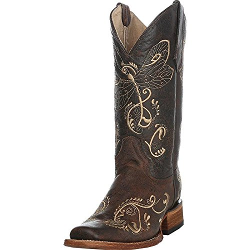 Circle G Corral Women's Distressed Bone Dragonfly Embroidered Square Toe Western Boot