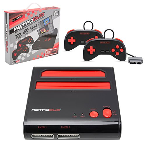 Retro Bit Retro Duo Twin Video Game System Nes And Snes V3 0   Black Red