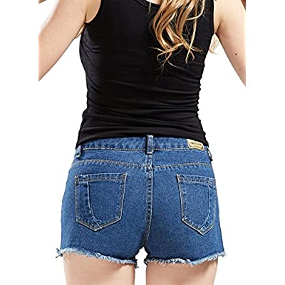 chouyatou Women's Perfectly Fit 5-Pockets Ripped Denim Jean Shorts at Women's Clothing store
