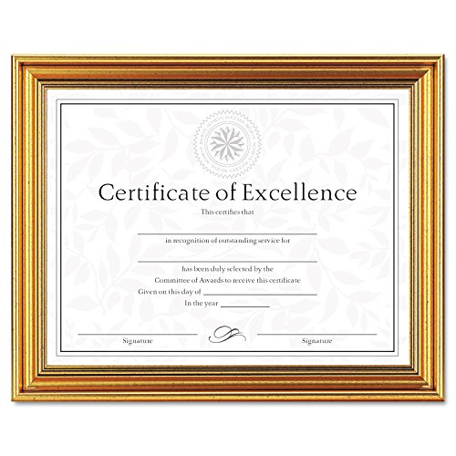 DAX Antique Colored Document Frame with Certificate, Metal, 8-1/2 x 11, Gold (N1818N1T) (Certificate Frame Gold)