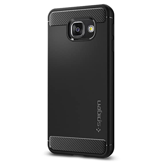 pretty nice c3f2b e409b Spigen Rugged Armor Galaxy A3 2016 Case with Resilient Shock Absorption and  Carbon Fiber Design for Galaxy A3 2016 - Black