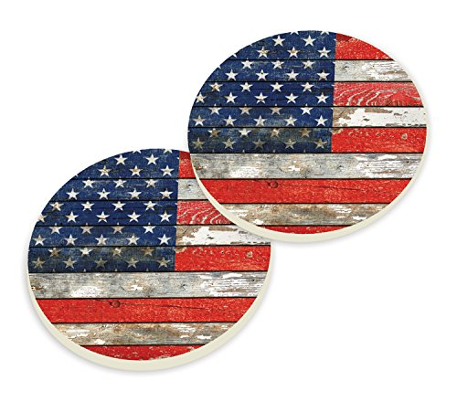 American Flag Distressed Wood Look Set of 2 Ceramic Car Coaster Pack