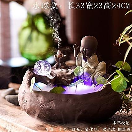 Fuentes de agua ceramica Decoracion Acuario decoracion Decoracion Hogar humidificador Fengshui ronda shramanera adornos,Water