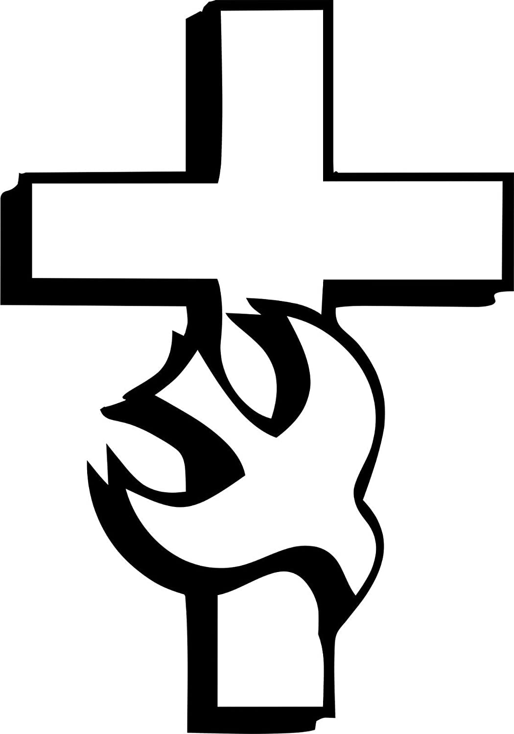 Evan Decals Magnet Religious Christian Cross with Dove Window Decal Vinyl Magnetic Sticker 6""